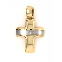 18ct Yellow and White Gold Diamond Cross