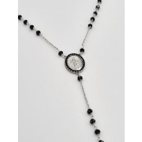 18ct White Gold & Onyx Rosary Necklace