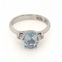 9ct White Gold Gem Stone Ring
