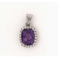 9ct White Gold Gem Stone Pendant