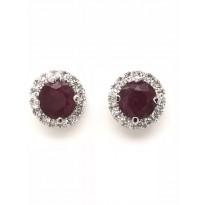 18ct White Gold Gem Stone Stud Earrings