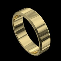 18ct Yellow Gold Flat with Bevelled Edge Wedding Ring