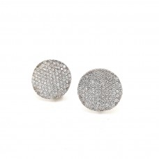 18ct White Gold Swarovski set Round with Wave Earrings
