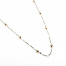 9ct Two Tone, White Gold Belcher linked chain with Yellow Gold Balls 45cm