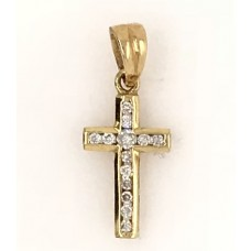 18ct Yellow Gold Diamond Cross