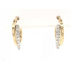 9ct Yellow and White Gold Swarovski Hoop Earrings