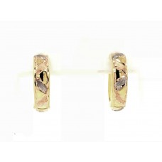 9ct Yellow, White and Rose Gold Huggie Earrings