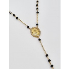 18ct Yellow Gold Onyx & Cystal Rosary Necklace
