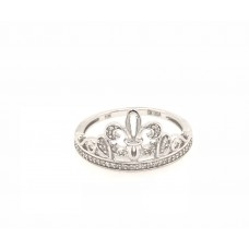 10ct White Gold Crown Ring