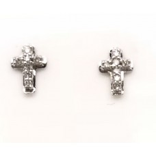 18ct White Gold Diamond Cross Stud Earrings