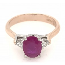 18ct Rose and White Gold Gem Stone Ring