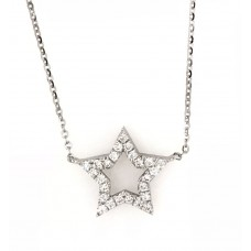 18ct White Gold Star Necklace
