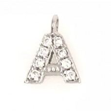 18ct White Gold Diamond Initial A Pendant