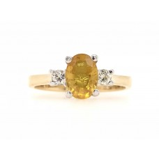9ct Yellow and White Gold Gem Stone Ring