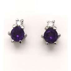 9ct White Gold Gem Stone Stud Earrings