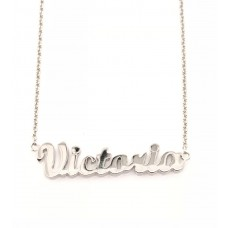 9ct White Gold Name Victoria Chain