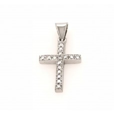 18ct White Gold Diamond Cross