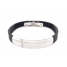 S/Steel and Rubber bracelet laser top