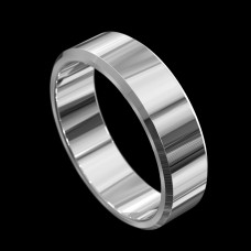 18ct White Gold Flat with Bevelled Edge Wedding Ring